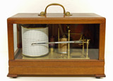 Mahogany cased barograph, Met Office pattern by Gradko