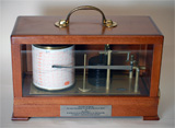 Mahogany cased barograph, Met Office pattern by Cassella